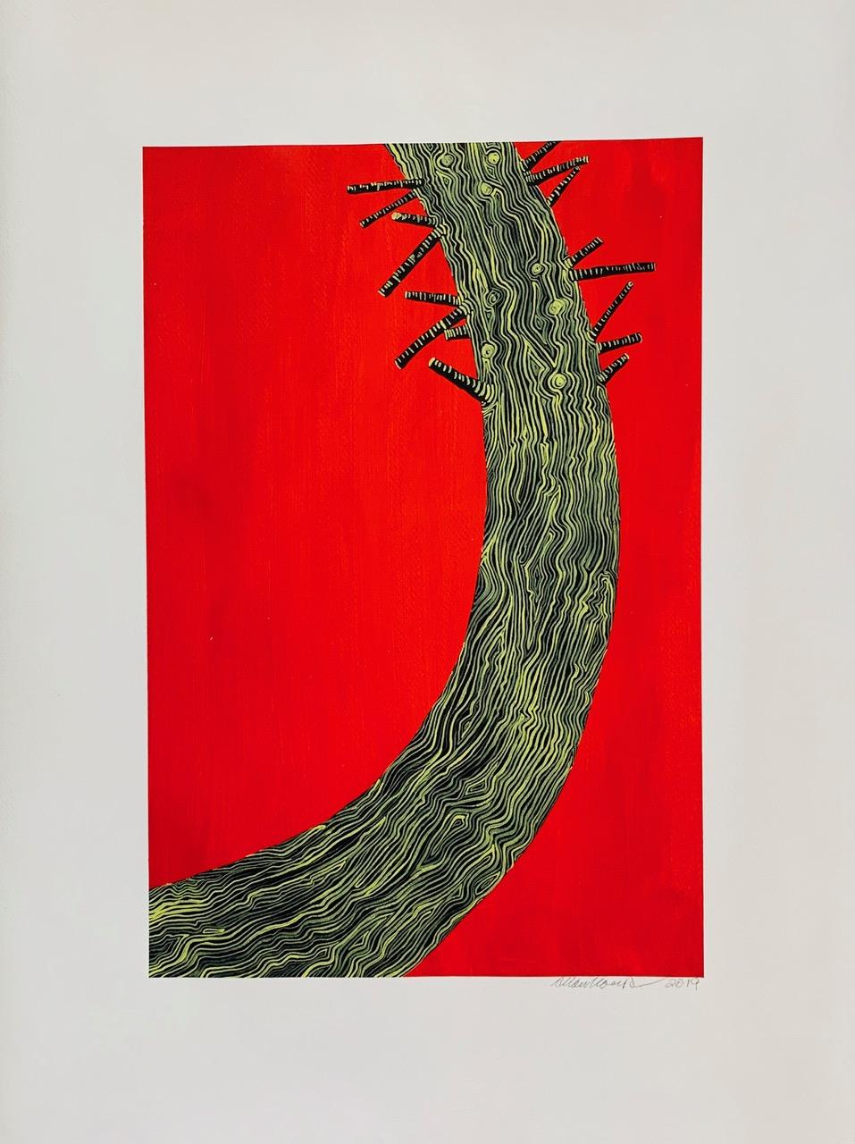 Burnt Tree Portait-Red, 2019