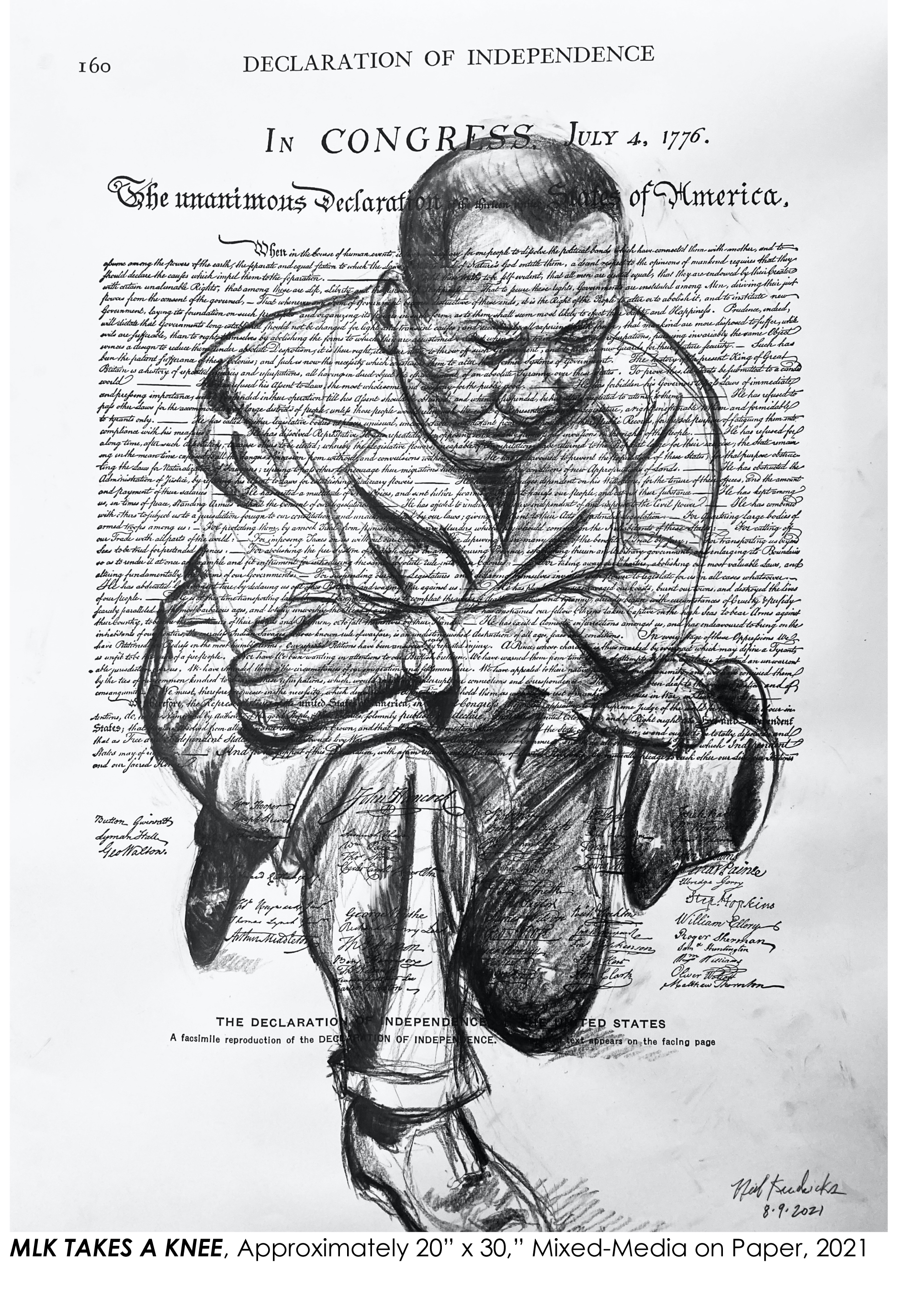 """Neil Kendricks, MLK Takes a Knee, 2021. Mixed media on paper, approx. 20"""" x 30""""."""