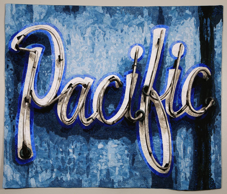 """Lisa Kijak, Neon Pacific , 2019, 42"""" x 50""""."""