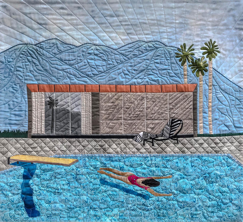 "Nelda McComb, Homage to Hockney's Palm Springs, 2019, 29"" x 31.5""."